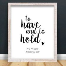 A4 Personalised Vows Mr Mrs Typography Print Wedding Anniversary UNFRAMED