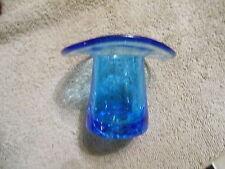 BLUE - HAND BLOWN CRACKLE GLASS -- HAT  -- TOOTHPICK HOLDER