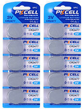 10 x CR2477 3V Lithium Knopfzelle 900 mAh ( 2 Blistercards a 5 Batterien )PKCELL
