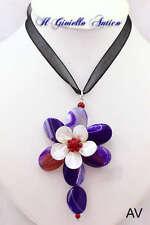 Collana con Pendente Fiore Agata Viola e Madreperla Naturale AV