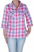 Womens Checkered Casual Plus Size Check Zip Up 3/4 Sleeve Collared Blouse Shirt