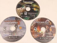 PS3 Lot of 3 UNCHARTED games Disc Only Playstation 3-  Games 1, 2, and 3