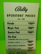 Bally Arcade Games Original Nos Paper Price Sheet Bingo Pinball Bowling U-Pick