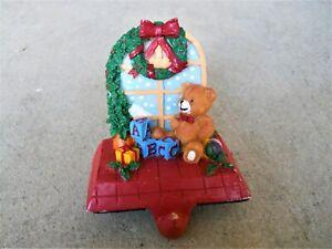 Stocking Holder Teddy Bear Toy Blocks Heavy Base Resin Figure Hanger Christmas