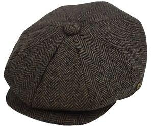 Men's Wool Newsboy Cap Herringbone Driving Cabbie Tweed Applejack Patchwork Hat