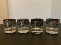Vintage Mid Century Silver Fade Lace Cocktail Lowball Glass Set of 4