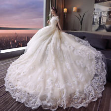 Vintage Cap Sleeves Cathedral Wedding Dresses Lace Beaded Sequins Bridal Gowns