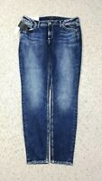 NEW Silver Jeans Women's Elyse Skinny Mid Rise Dark Faded Wash Blue Jeans NWT