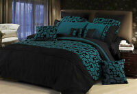 Black flocking Quilt Cover 3pcs pintuck teal duvet cover Set / options