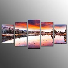 FRAMED Wall Art Home Decor Afterflow Reflection Giclee Canvas Painting Print-5pc