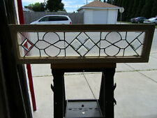 ANTIQUE STAINED GLASS TRANSOM WINDOW WITH BEVELS ~ 46 X 13 ~ SALVAGE