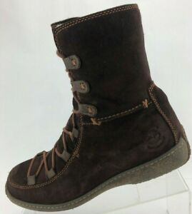 Timberland Winter Boots Reykir Ghillie Brown Shearling Wool Mid Calf Womens 8.5M