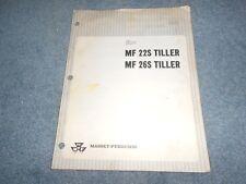 1966 Massey Ferguson Mf 22S 26S Tiller Assembly & Predelivery Instructions Orig
