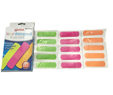 80 Neon Water Resistant Padded Plasters - Family Pack / Latex Free / Kids