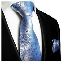 Krawatten Set 2tlg blau paisley Seidenkrawatte + Einstecktuch Paul Malone 428