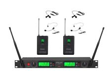 2x100 Channal UHF Wireless Lapel Headset Lavalier Microphone Mic System 22L