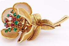 Emerald Ruby Diamond 18KY Flower Pin/Brooch (Retail Price $10,000)