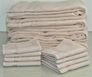NEW Frette 12 PC TOWEL SET Elisa Border Bath Sheet Washcloth Blush Pink Towels