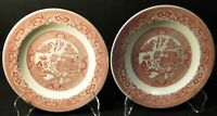 """Royal China Pink Willow Ware Salad Plates 7 1/4"""" Red Set of 2 Excellent"""