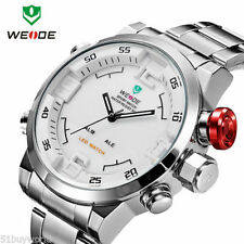 Waterproof  Digital LED Date Big Face Sport Stainless Steel mens Quartz Watch