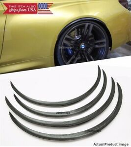 """2 Pairs Black Carbon 1"""" Flexible Arch Extension Wide Fender Lip Spats For Chevy"""