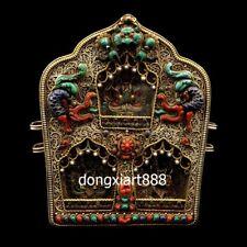 Tibet pure silver inlay coral turquoise kwan-yin niche for Buddha shrine pendant