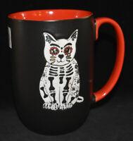 Spectrum Sugar Skull Cat Kitty Mug Skeleton Black Halloween Goth 16 Oz NEW