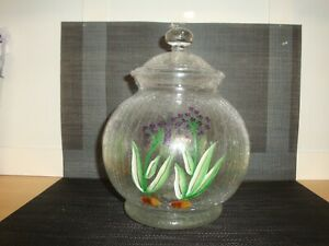 Vintage Crystal Cookie Jar/Candy Dish-Romania-Kitchen-Dinning