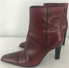 Croft & Barrows Women's Leather Red Ankle Boots Heels Size 6.5 M
