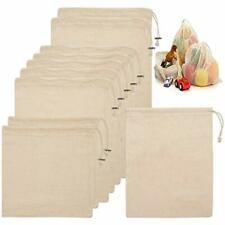 """New listing 10 Pack Cotton Reusable Mesh Produce Bags With Drawstring Fruit Vegetable Bag, """""""