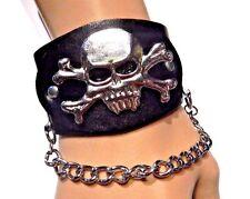 BLACK SILVER SKULL CUFF large chunky biker gothic heavy metal punk bracelet R5