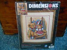 Dimensions Counted Cross Stitch Kit ~ Teddies On Quilt by Anna Krajewski ~ NIP