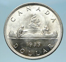 1935 CANADA under UK King GEORGE V Voyagers Genuine Silver Dollar Coin i82975