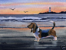 BASSET HOUND SUNSET Dog Painting 8 x 10 ART Print Signed by Artist DJ Rogers