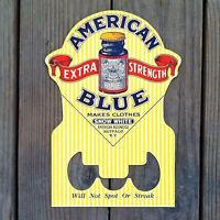 Vintage Original AMERICAN BLUE Figural Store Display Cardboard Sign 1920s NOS