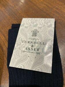 Turnbull and Asser navy blue long cotton socks Pantherella XL