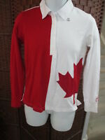 NEW Women's Hudson Bay Team Canada Polo Shirt Long Sleeve Size S Olympics Leaf