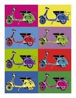 VESPA Vintage Pop Art QUALITY CANVAS PRINT Retro Scooter Poster B - A1 size
