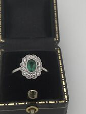 18ct White Gold Emerald Diamond Cluster