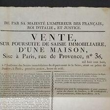 Document 1808 Maison À Vendre Paris 36 Rue De Provence Avis Napoléon 1er