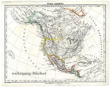 Karte von Nord America von 1848, Grenzkolorierte Lithographie.