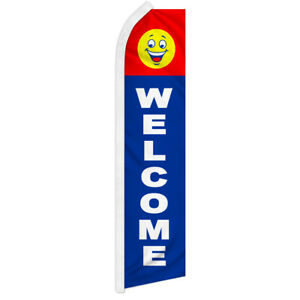 Welcome Swooper Flutter Feather Advertising Flag Welcome Flag Come in Happy Face
