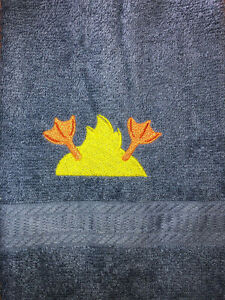 Embroidered  Blue  Bathroom Hand Towel HS1548  Yellow  Ducky -Bottom Part
