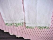 Lot 2 Vintage Hand Towels Handkerchief Linen Variegated GN Crochet  13 x 7 1/4