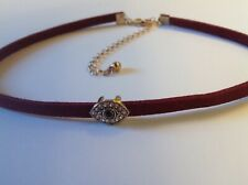 DARK RED FLAT CORD MATERIAL CHOKER NECKLACE WITH FANCY OVAL CENTRE SLIDING PIECE