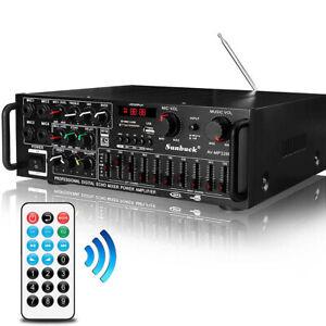 2000W Bluetooth Stereo Amplifier HIFI 2CH Tuner Remote Control USB SD Mic Input