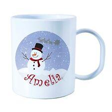Personalised Plastic Unbreakable Kids Cup, Christmas Snowman.