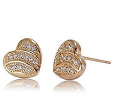 Womens Heart Shaped 18ct Gold Filled Stud Earrings White Cubic Zirconia BE993
