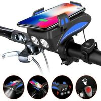 4In1 Bicycle Phone Holder LED Bike Headlight USB Power Bank with Horn Waterproof