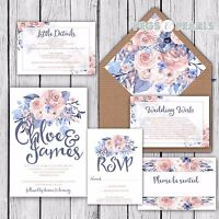 Personalised Luxury Rustic Wedding Invitations BLUSH & BLUE FLORAL packs of 10